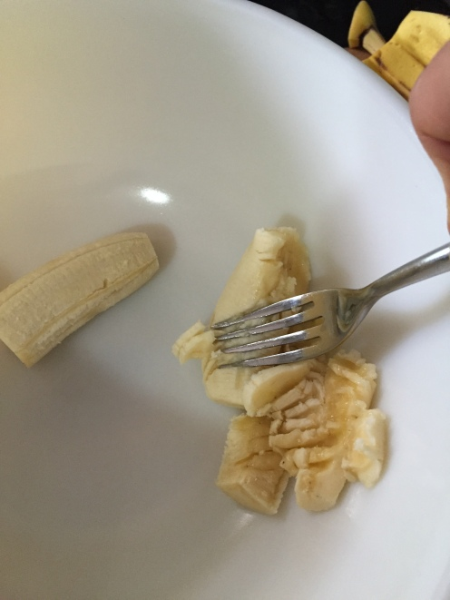 A nice ripe banana mashes easily with a fork